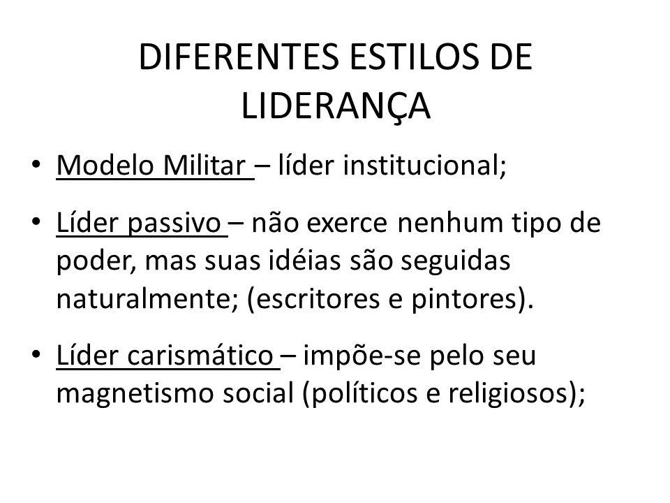 DIFERENTES ESTILOS DE LIDERANÇA Modelo Militar – líder institucional; Líder passivo – não exerce nenhum tipo de poder, mas suas idéias são seguidas naturalmente; (escritores e pintores).