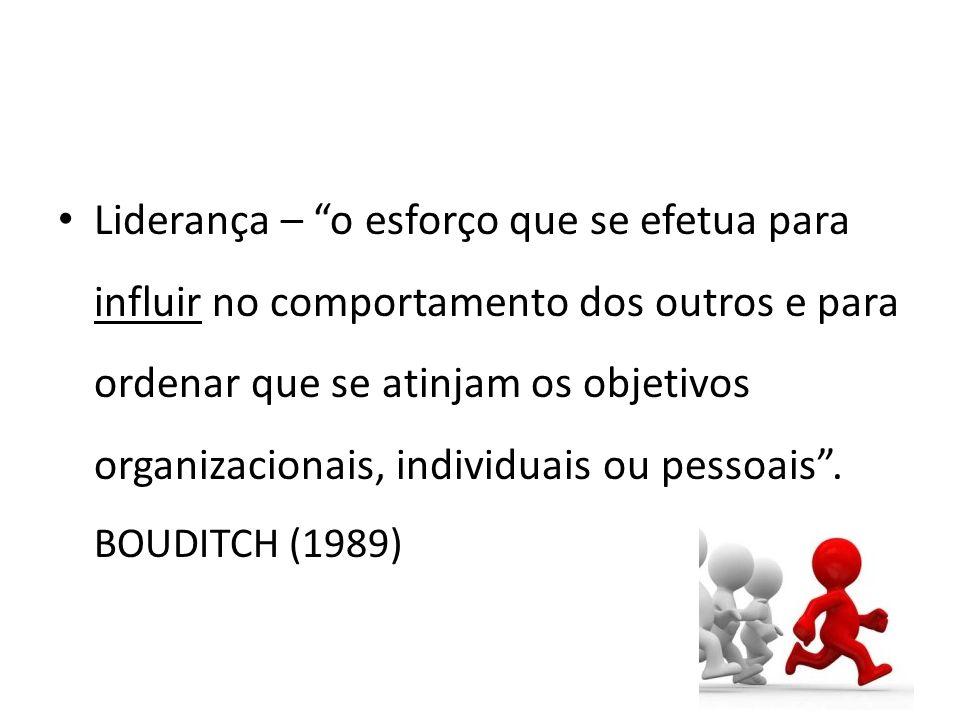 Liderança – o esforço que se efetua para influir no comportamento dos outros e para ordenar que se atinjam os objetivos organizacionais, individuais ou pessoais.