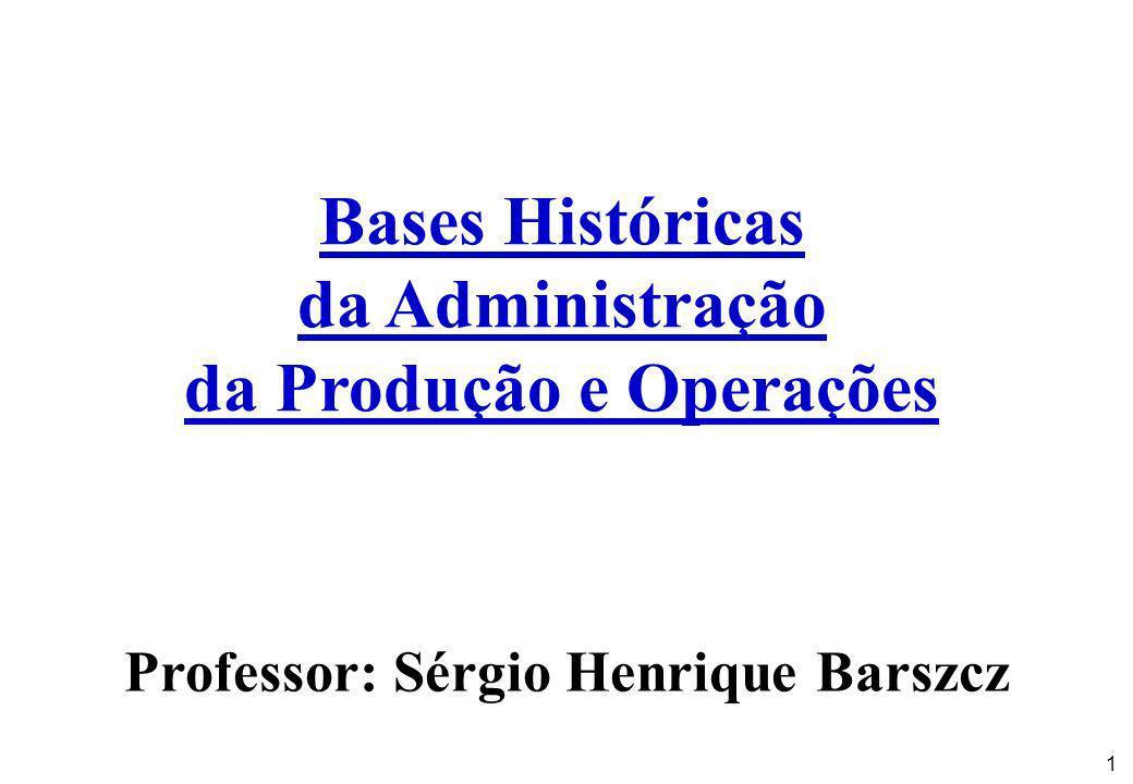 1 Bases Históricas da Administração da Produção e Operações Professor: Sérgio Henrique Barszcz