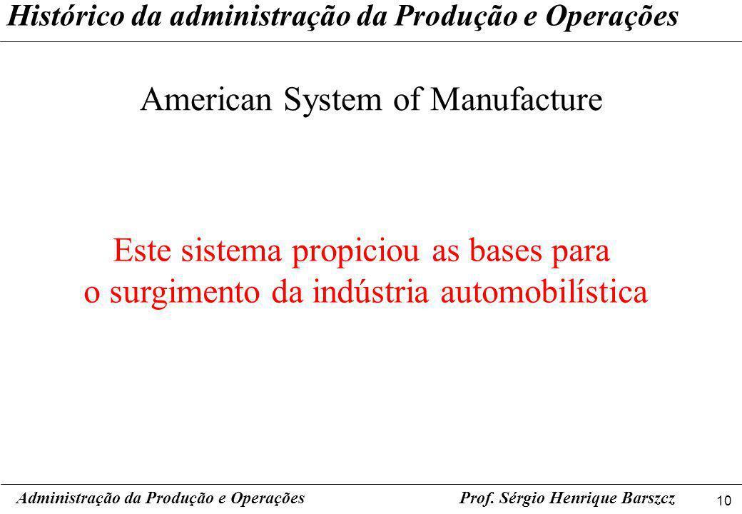 10 Prof. Sérgio Henrique Barszcz Histórico da administração da Produção e Operações American System of Manufacture Administração da Produção e Operaçõ