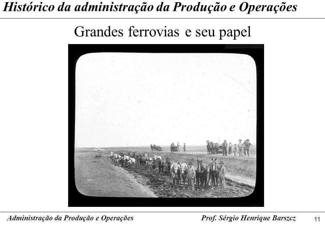 11 Prof. Sérgio Henrique Barszcz Histórico da administração da Produção e Operações Grandes ferrovias e seu papel Administração da Produção e Operaçõe