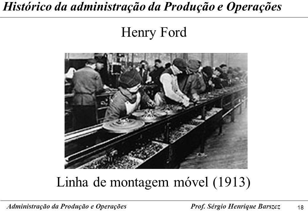 18 Prof. Sérgio Henrique Barszcz Histórico da administração da Produção e Operações Henry Ford Administração da Produção e Operações Linha de montagem