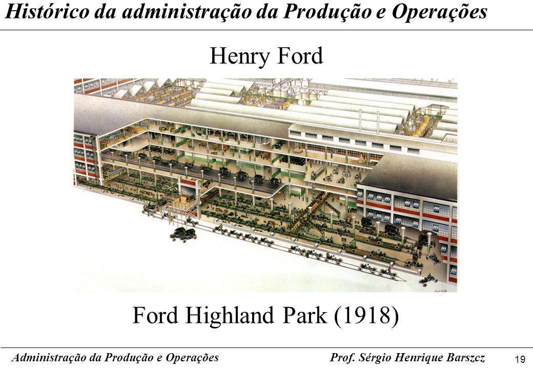 19 Prof. Sérgio Henrique Barszcz Histórico da administração da Produção e Operações Henry Ford Administração da Produção e Operações Ford Highland Par