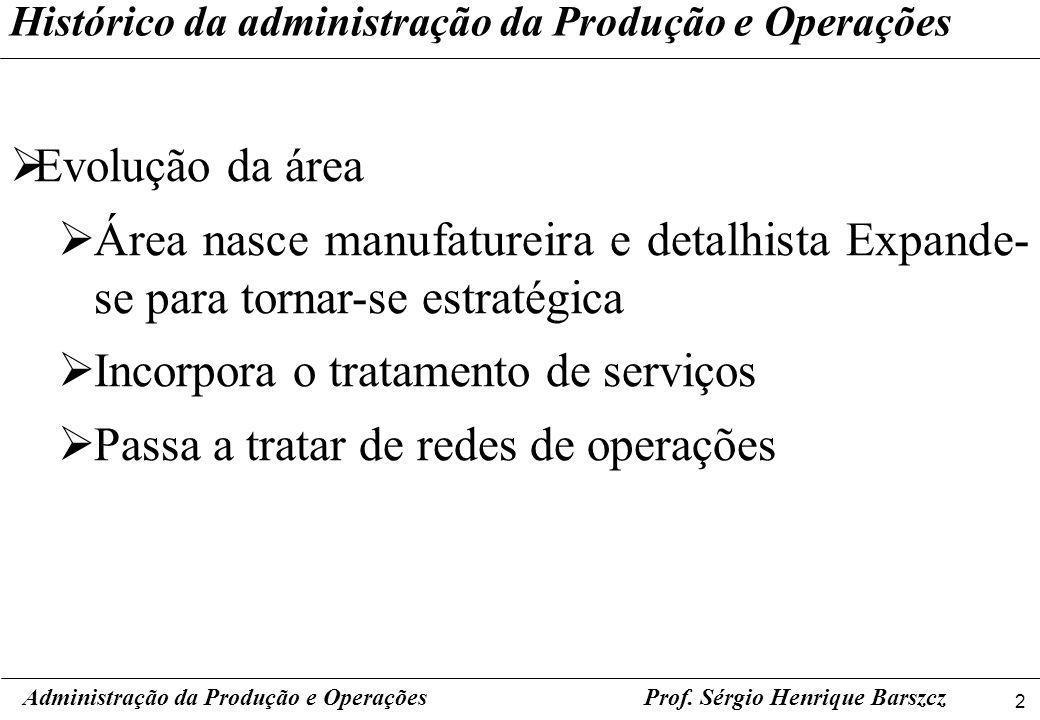 2 Prof. Sérgio Henrique Barszcz Histórico da administração da Produção e Operações Evolução da área Área nasce manufatureira e detalhista Expande- se