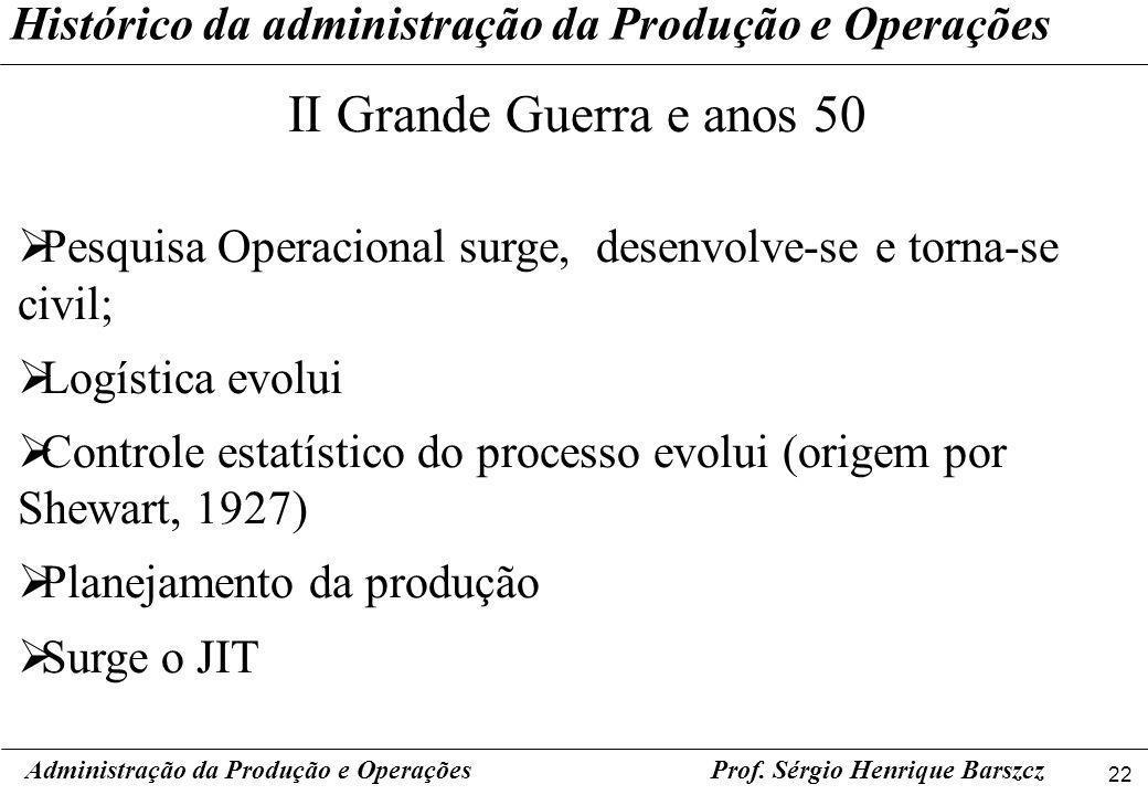 22 Prof. Sérgio Henrique Barszcz Histórico da administração da Produção e Operações Administração da Produção e Operações II Grande Guerra e anos 50 P