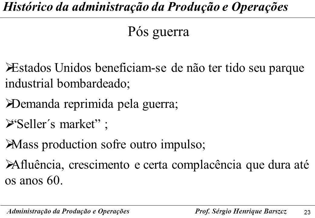 23 Prof. Sérgio Henrique Barszcz Histórico da administração da Produção e Operações Administração da Produção e Operações Pós guerra Estados Unidos be