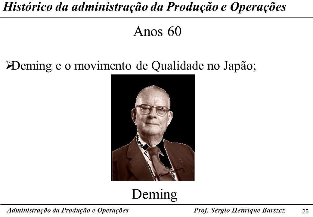 25 Prof. Sérgio Henrique Barszcz Histórico da administração da Produção e Operações Administração da Produção e Operações Anos 60 Deming e o movimento