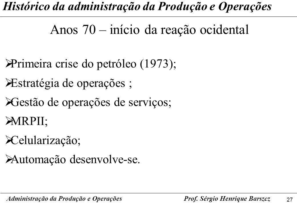 27 Prof. Sérgio Henrique Barszcz Histórico da administração da Produção e Operações Administração da Produção e Operações Anos 70 – início da reação o