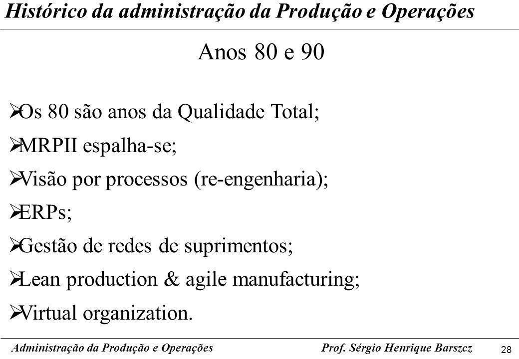 28 Prof. Sérgio Henrique Barszcz Histórico da administração da Produção e Operações Administração da Produção e Operações Anos 80 e 90 Os 80 são anos