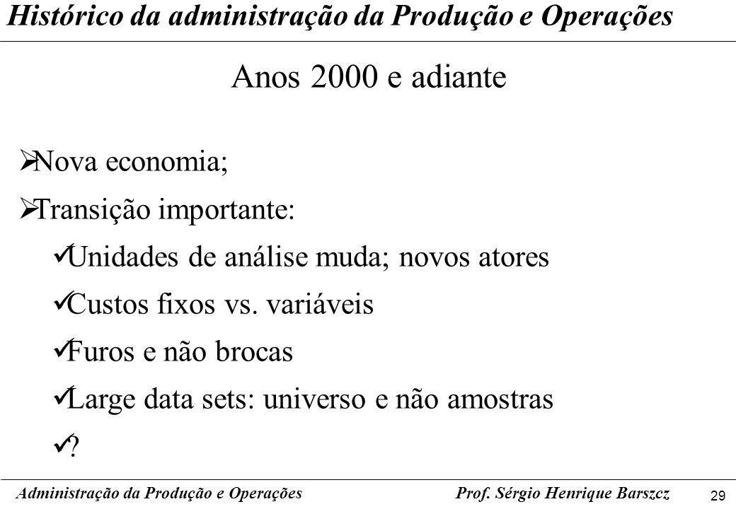 29 Prof. Sérgio Henrique Barszcz Histórico da administração da Produção e Operações Administração da Produção e Operações Anos 2000 e adiante Nova eco