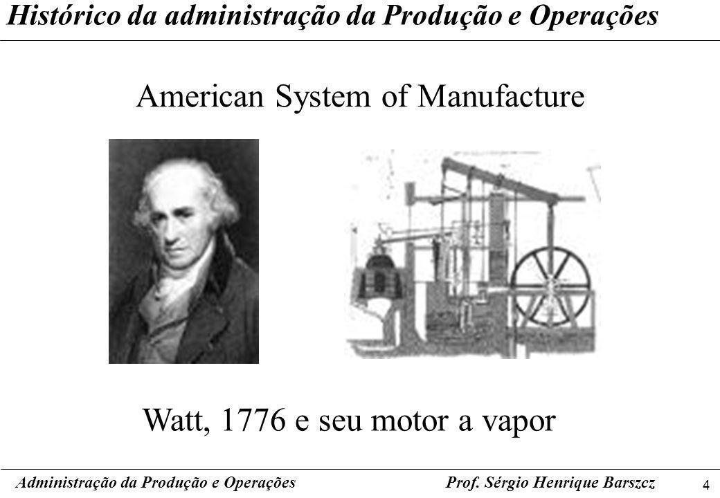 4 Prof. Sérgio Henrique Barszcz Histórico da administração da Produção e Operações American System of Manufacture Administração da Produção e Operaçõe
