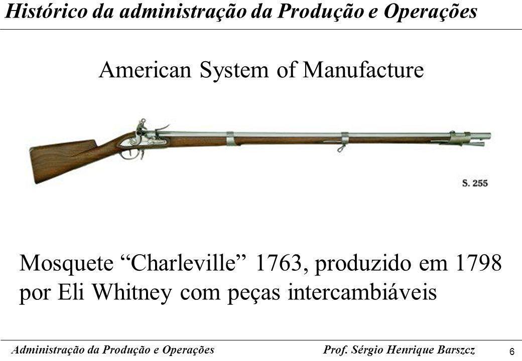 6 Prof. Sérgio Henrique Barszcz Histórico da administração da Produção e Operações American System of Manufacture Administração da Produção e Operaçõe