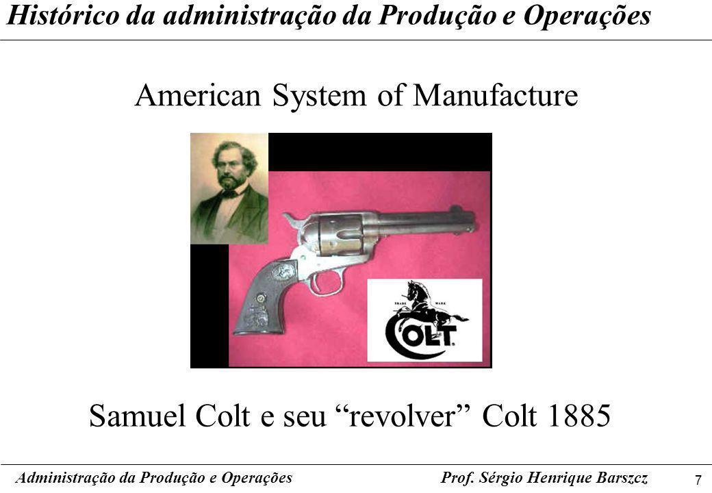 7 Prof. Sérgio Henrique Barszcz Histórico da administração da Produção e Operações American System of Manufacture Administração da Produção e Operaçõe