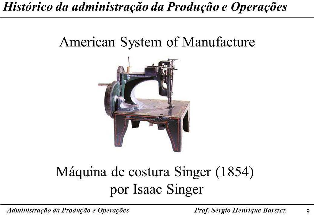 9 Prof. Sérgio Henrique Barszcz Histórico da administração da Produção e Operações American System of Manufacture Administração da Produção e Operaçõe