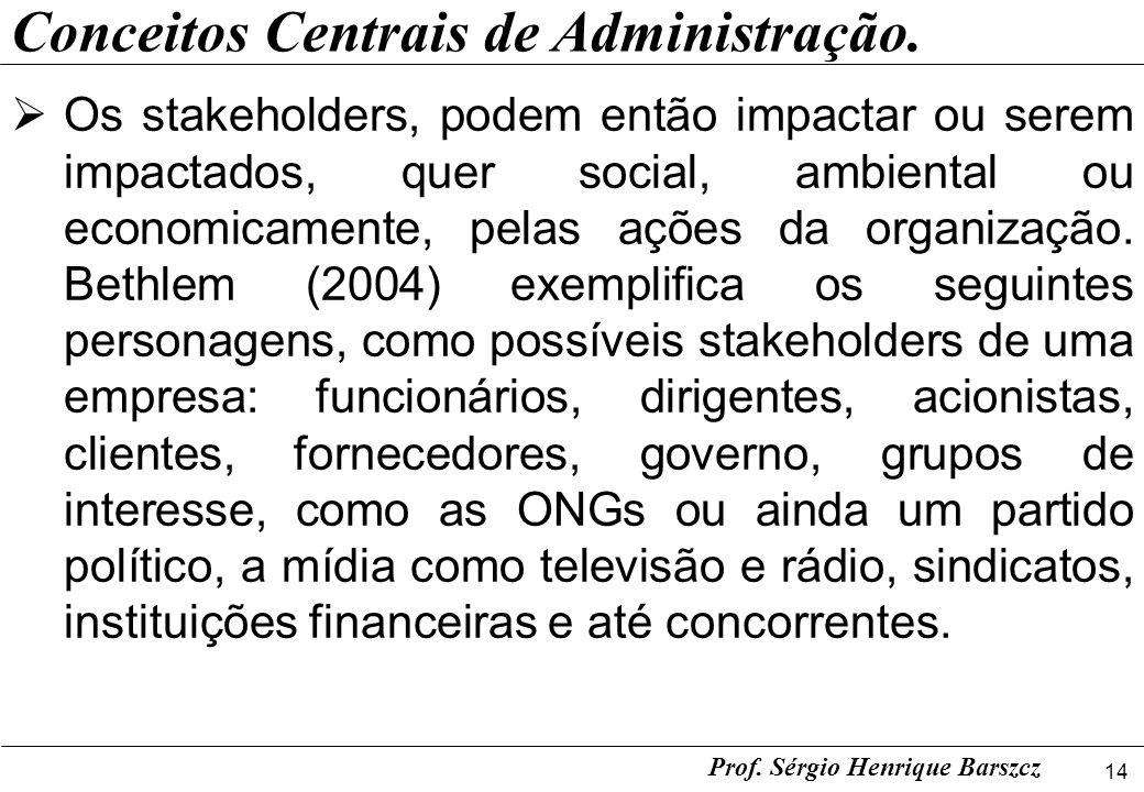 14 Prof. Sérgio Henrique Barszcz Conceitos Centrais de Administração. Os stakeholders, podem então impactar ou serem impactados, quer social, ambienta