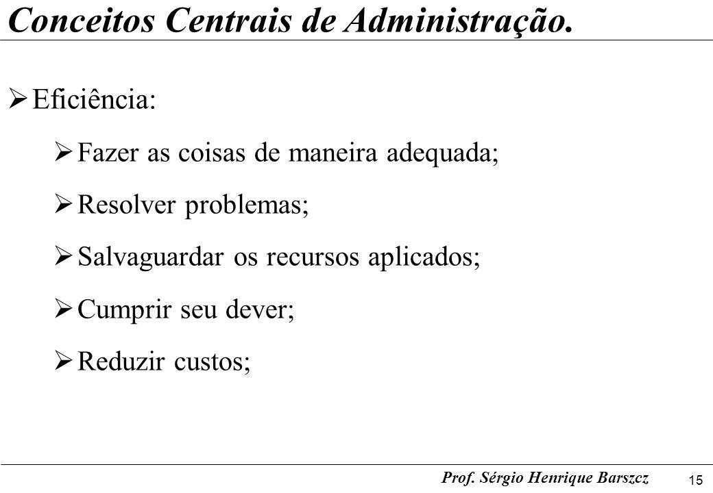 15 Prof. Sérgio Henrique Barszcz Conceitos Centrais de Administração. Eficiência: Fazer as coisas de maneira adequada; Resolver problemas; Salvaguarda
