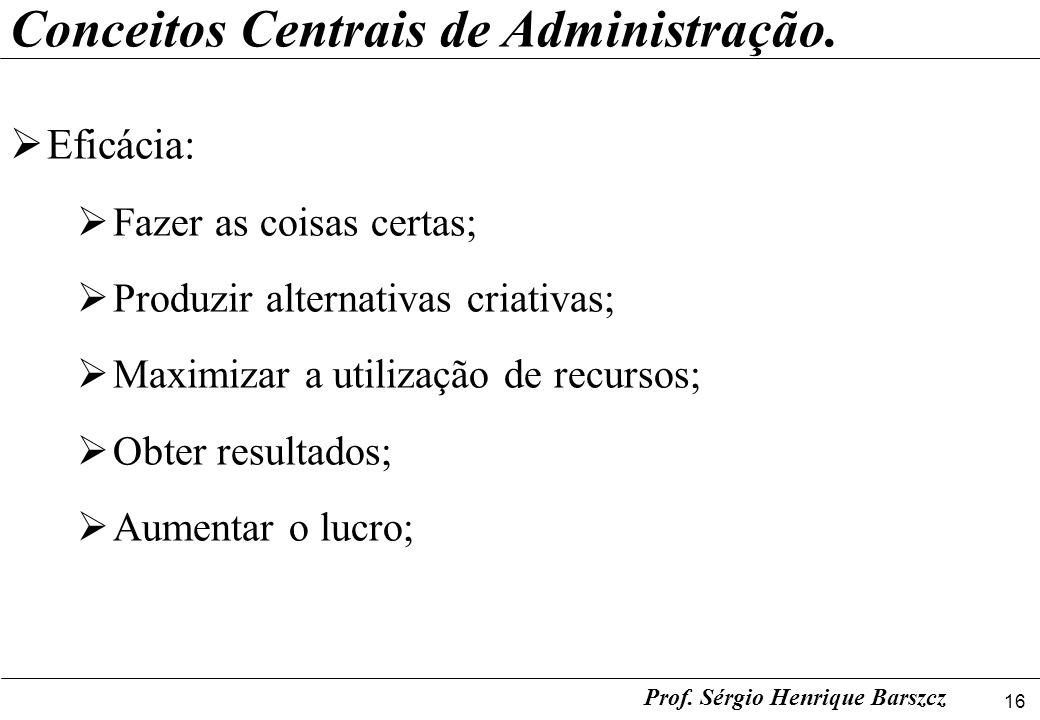 16 Prof. Sérgio Henrique Barszcz Conceitos Centrais de Administração. Eficácia: Fazer as coisas certas; Produzir alternativas criativas; Maximizar a u