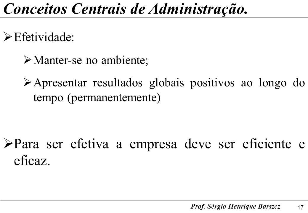 17 Prof. Sérgio Henrique Barszcz Conceitos Centrais de Administração. Efetividade: Manter-se no ambiente; Apresentar resultados globais positivos ao l