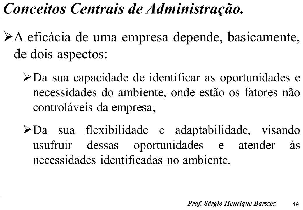 19 Prof. Sérgio Henrique Barszcz Conceitos Centrais de Administração. A eficácia de uma empresa depende, basicamente, de dois aspectos: Da sua capacid