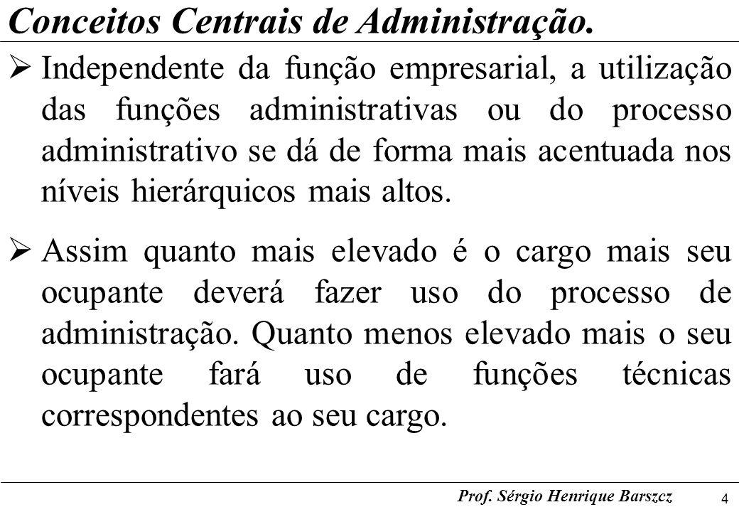 4 Prof. Sérgio Henrique Barszcz Conceitos Centrais de Administração. Independente da função empresarial, a utilização das funções administrativas ou d