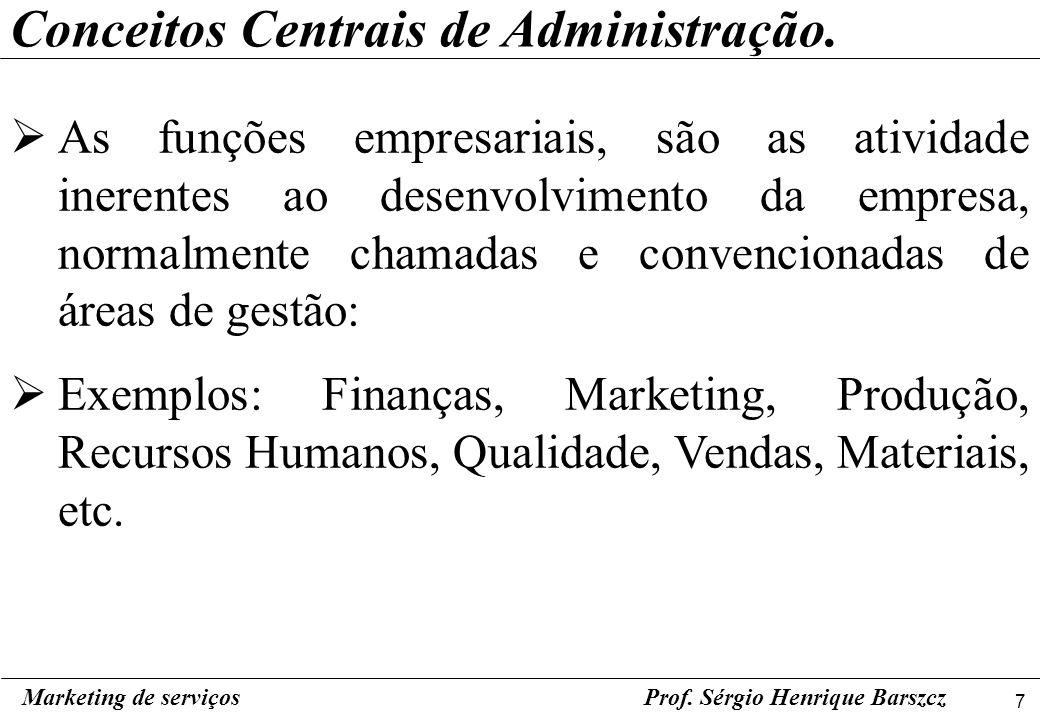 7 Marketing de serviçosProf. Sérgio Henrique Barszcz Conceitos Centrais de Administração. As funções empresariais, são as atividade inerentes ao desen