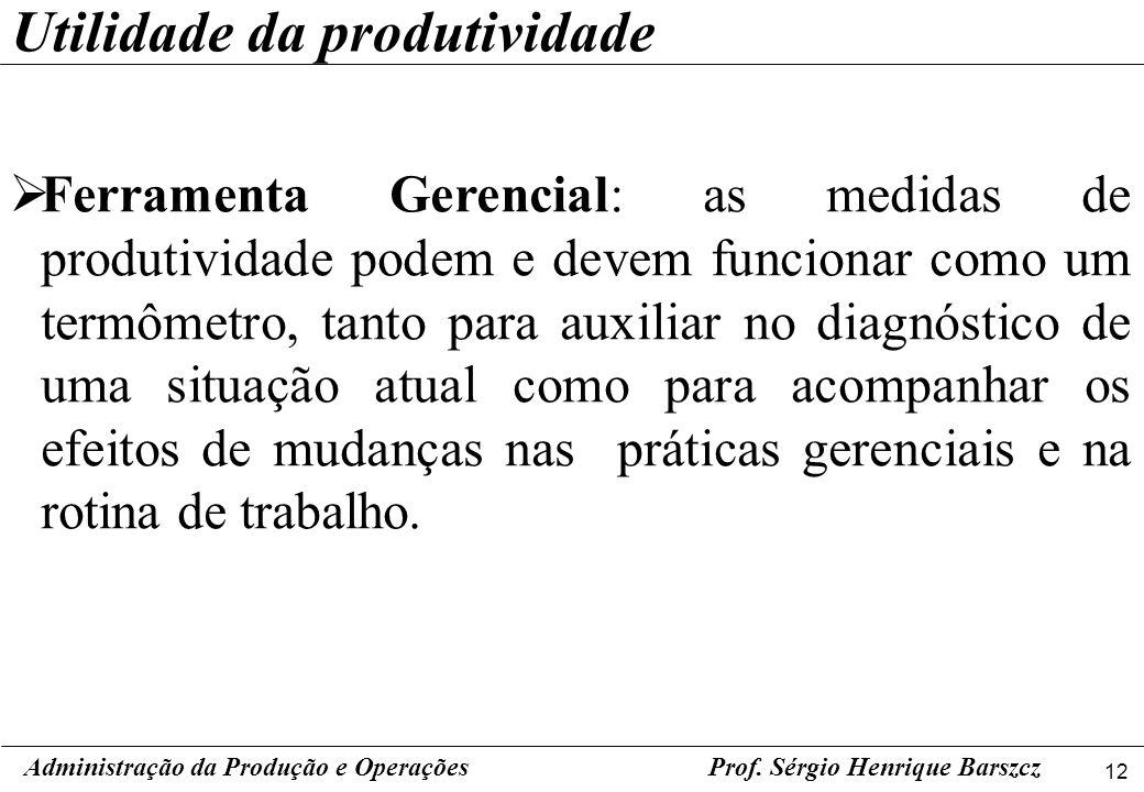 12 Prof. Sérgio Henrique Barszcz Ferramenta Gerencial: as medidas de produtividade podem e devem funcionar como um termômetro, tanto para auxiliar no