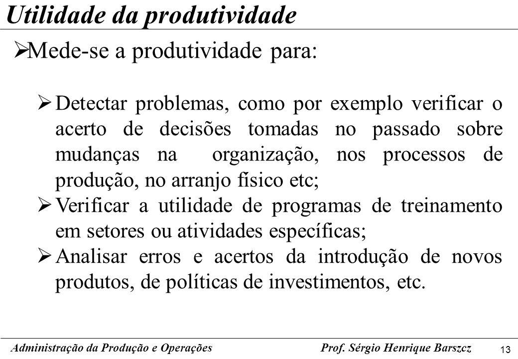 13 Prof. Sérgio Henrique Barszcz Mede-se a produtividade para: Detectar problemas, como por exemplo verificar o acerto de decisões tomadas no passado