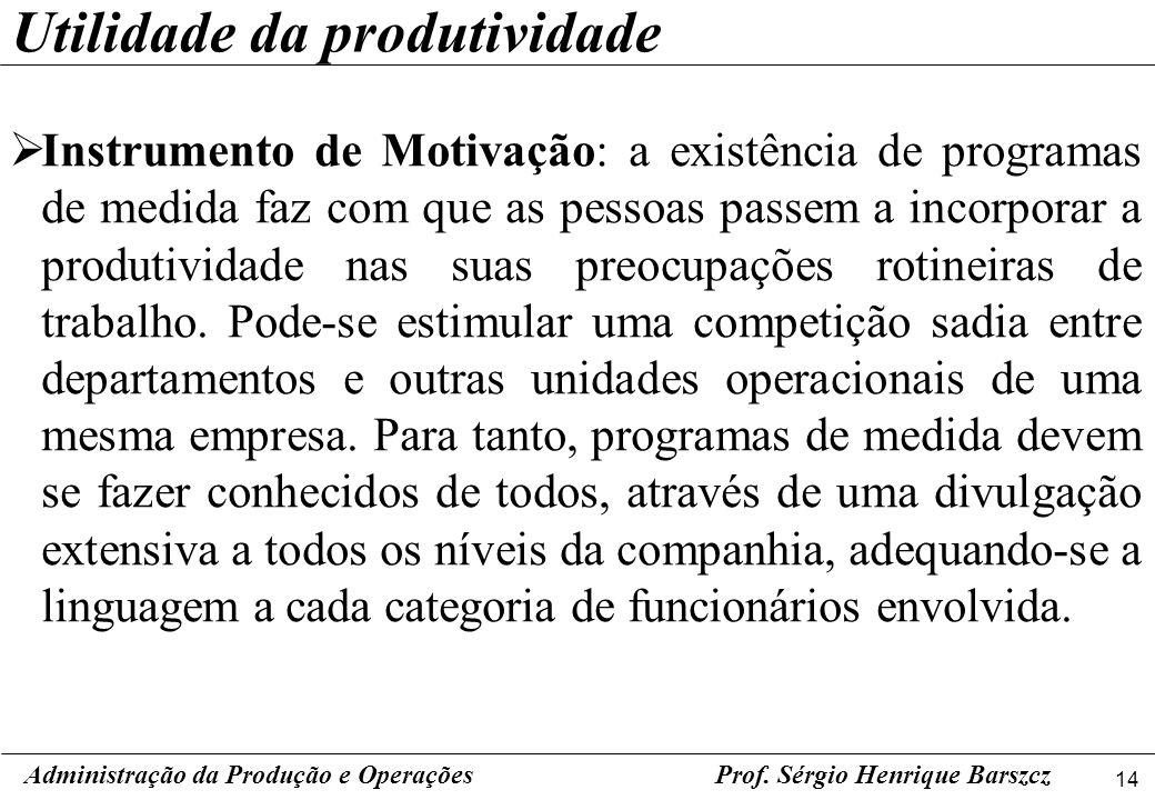 14 Prof. Sérgio Henrique Barszcz Instrumento de Motivação: a existência de programas de medida faz com que as pessoas passem a incorporar a produtivid