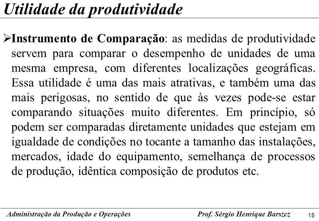 15 Prof. Sérgio Henrique Barszcz Instrumento de Comparação: as medidas de produtividade servem para comparar o desempenho de unidades de uma mesma emp
