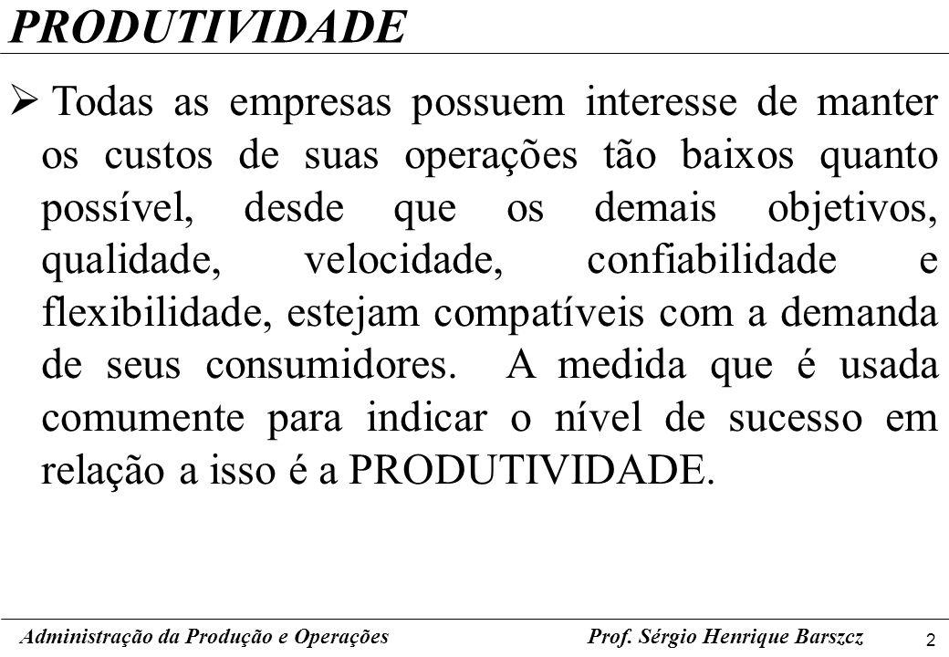 2 Prof. Sérgio Henrique Barszcz PRODUTIVIDADE Todas as empresas possuem interesse de manter os custos de suas operações tão baixos quanto possível, de