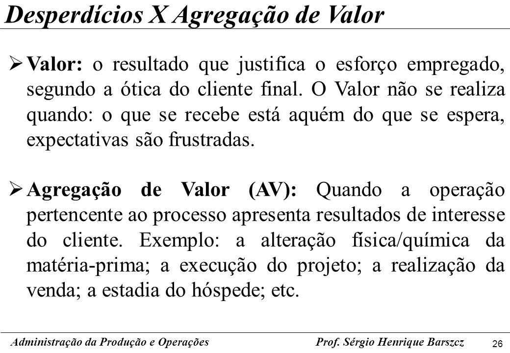 26 Prof. Sérgio Henrique Barszcz Valor: o resultado que justifica o esforço empregado, segundo a ótica do cliente final. O Valor não se realiza quando