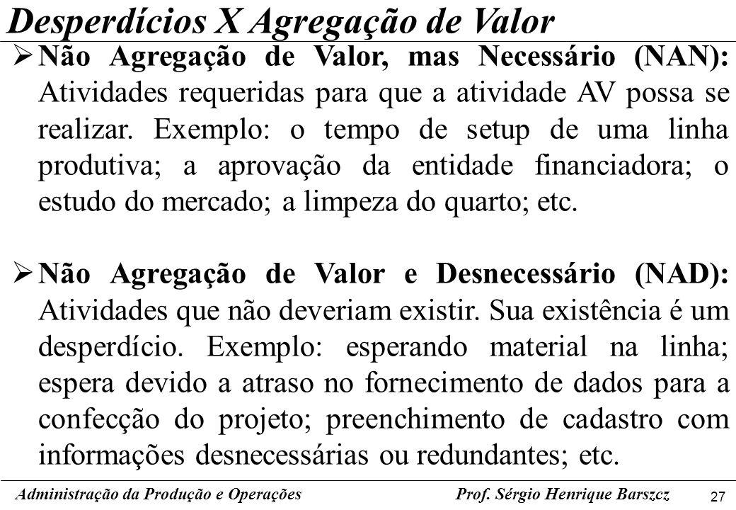 27 Prof. Sérgio Henrique Barszcz Não Agregação de Valor, mas Necessário (NAN): Atividades requeridas para que a atividade AV possa se realizar. Exempl