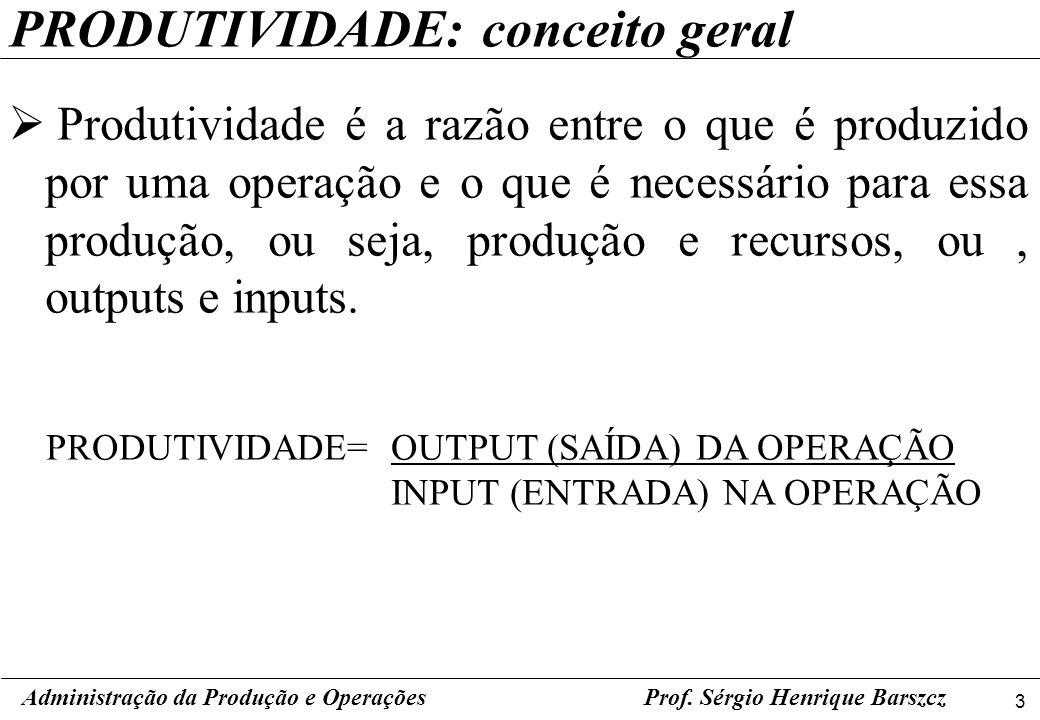 3 Prof. Sérgio Henrique Barszcz PRODUTIVIDADE: conceito geral Produtividade é a razão entre o que é produzido por uma operação e o que é necessário pa