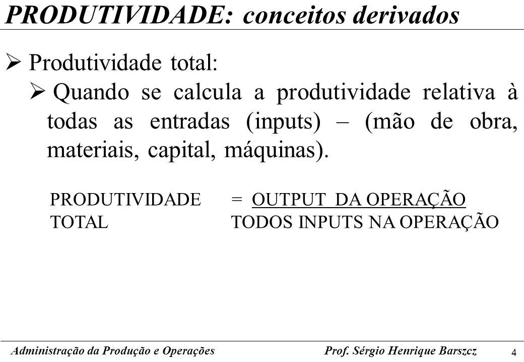 4 Prof. Sérgio Henrique Barszcz PRODUTIVIDADE: conceitos derivados Produtividade total: Quando se calcula a produtividade relativa à todas as entradas