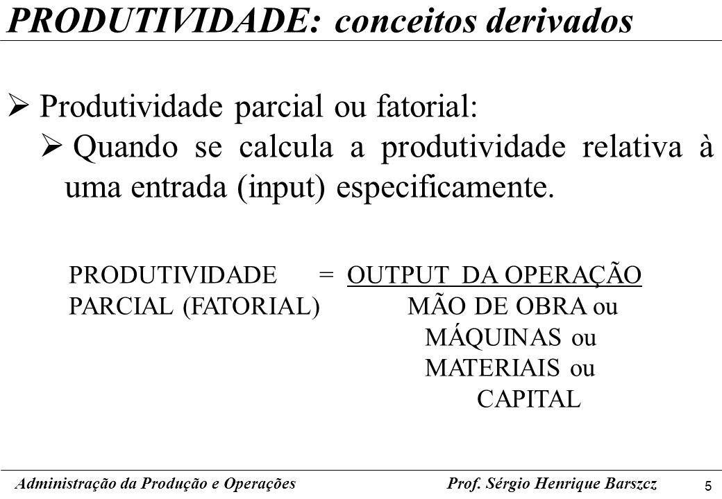5 Prof. Sérgio Henrique Barszcz PRODUTIVIDADE: conceitos derivados Produtividade parcial ou fatorial: Quando se calcula a produtividade relativa à uma