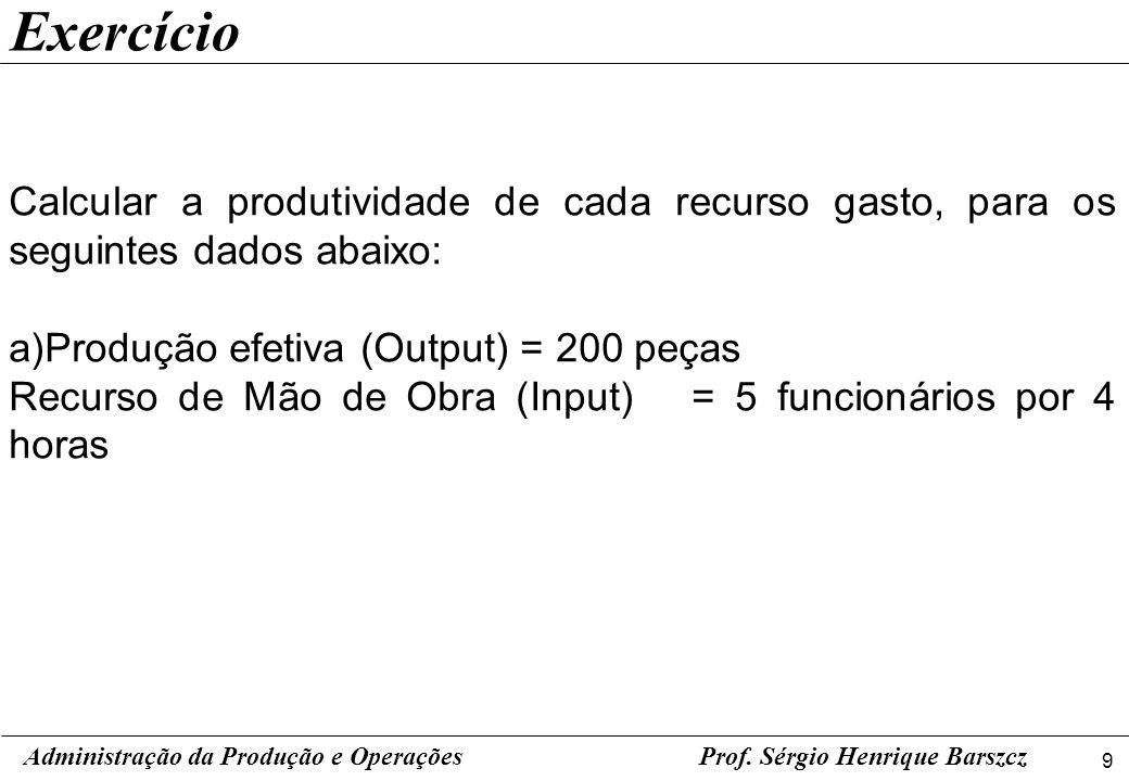 9 Prof. Sérgio Henrique Barszcz Exercício Calcular a produtividade de cada recurso gasto, para os seguintes dados abaixo: a)Produção efetiva (Output)