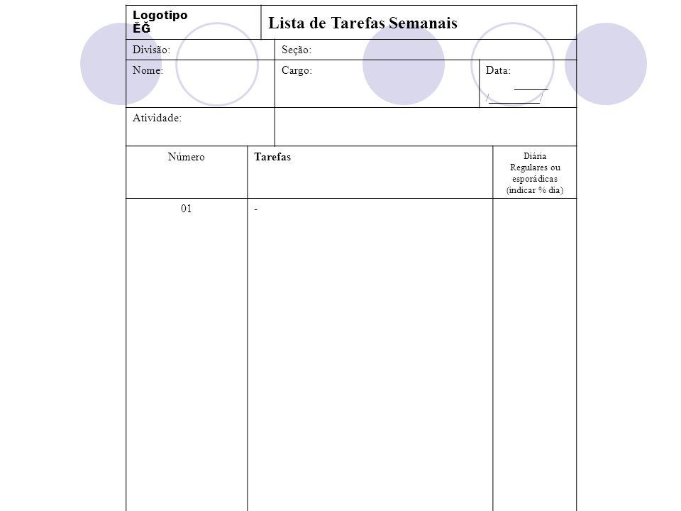 Logotipo ĚĞ Lista de Tarefas Semanais Divisão:Seção: Nome:Cargo:Data: ______ /_________/ Atividade: NúmeroTarefas Diária Regulares ou esporádicas (ind