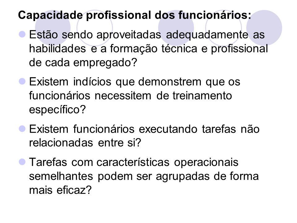 Capacidade profissional dos funcionários: Estão sendo aproveitadas adequadamente as habilidades e a formação técnica e profissional de cada empregado?