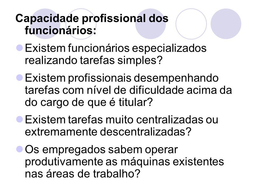 Capacidade profissional dos funcionários: Existem funcionários especializados realizando tarefas simples? Existem profissionais desempenhando tarefas