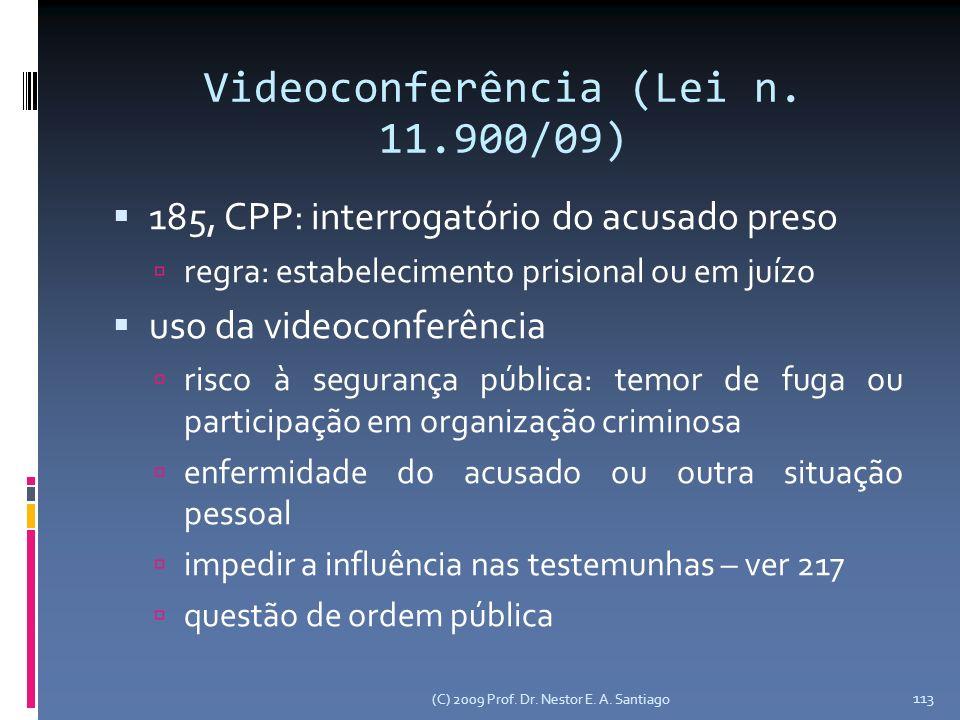 Videoconferência (Lei n. 11.900/09) 185, CPP: interrogatório do acusado preso regra: estabelecimento prisional ou em juízo uso da videoconferência ris