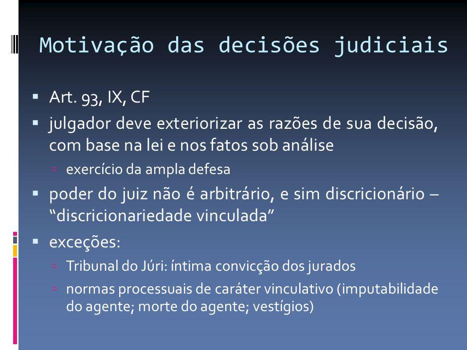 Motivação das decisões judiciais Art. 93, IX, CF julgador deve exteriorizar as razões de sua decisão, com base na lei e nos fatos sob análise exercíci
