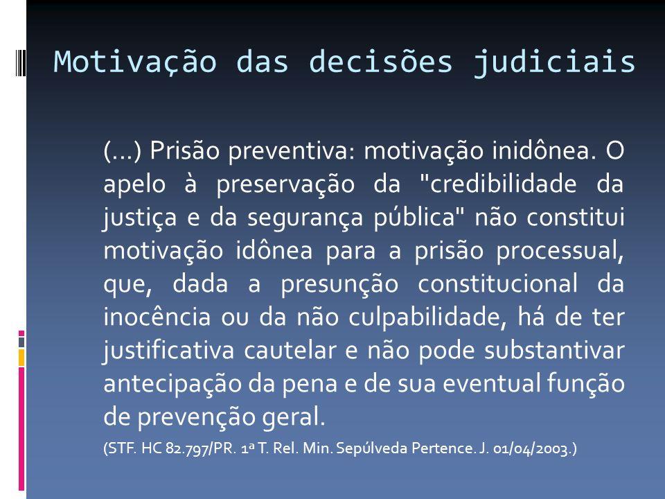 Motivação das decisões judiciais (...) Prisão preventiva: motivação inidônea. O apelo à preservação da