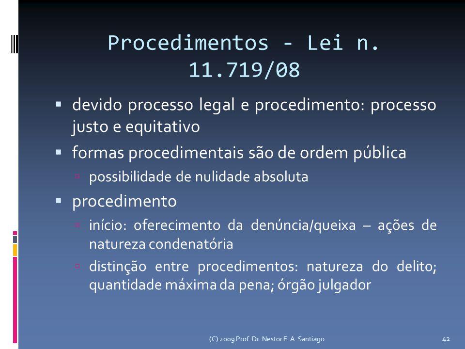 Procedimentos - Lei n. 11.719/08 devido processo legal e procedimento: processo justo e equitativo formas procedimentais são de ordem pública possibil