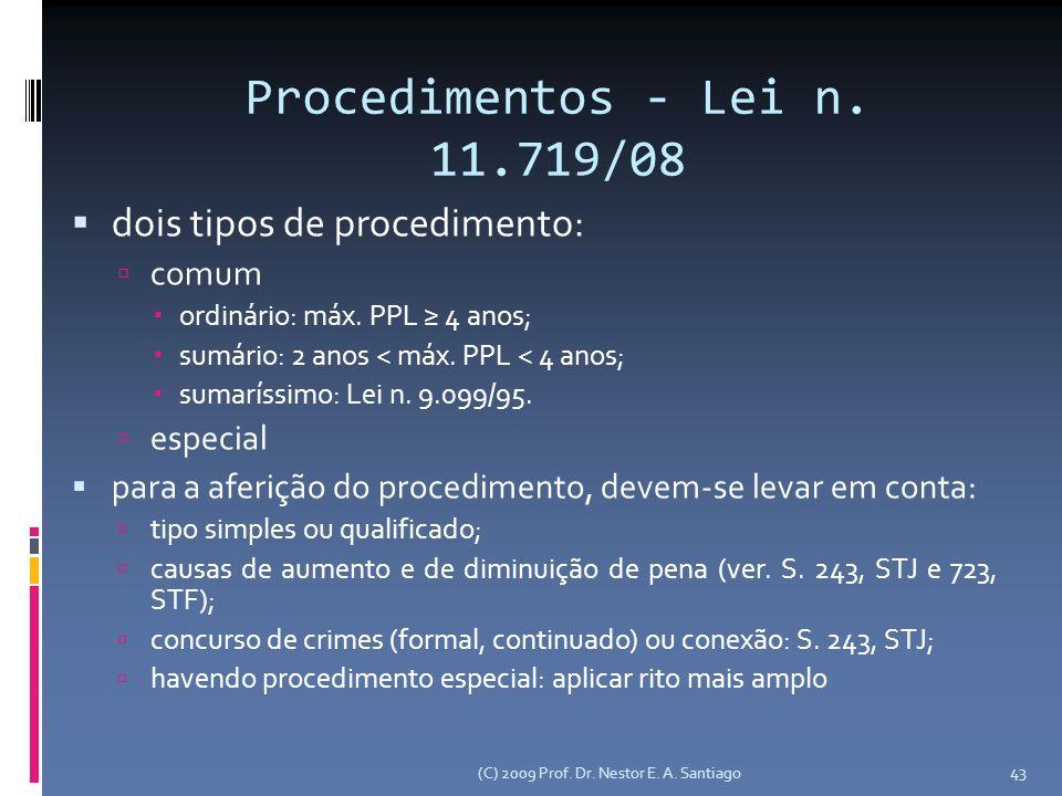 Procedimentos - Lei n. 11.719/08 dois tipos de procedimento: comum ordinário: máx. PPL 4 anos; sumário: 2 anos < máx. PPL < 4 anos; sumaríssimo: Lei n