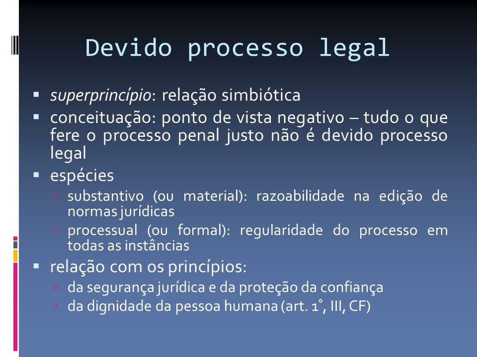 Devido processo legal superprincípio: relação simbiótica conceituação: ponto de vista negativo – tudo o que fere o processo penal justo não é devido p