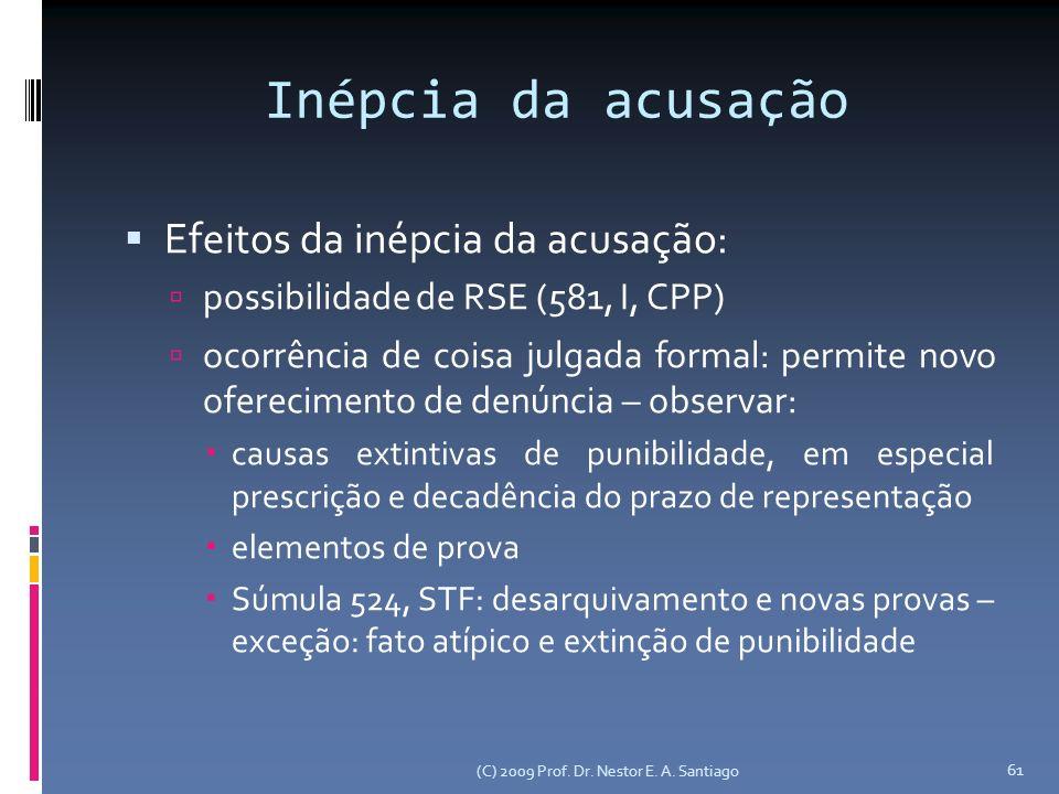 Inépcia da acusação Efeitos da inépcia da acusação: possibilidade de RSE (581, I, CPP) ocorrência de coisa julgada formal: permite novo oferecimento d