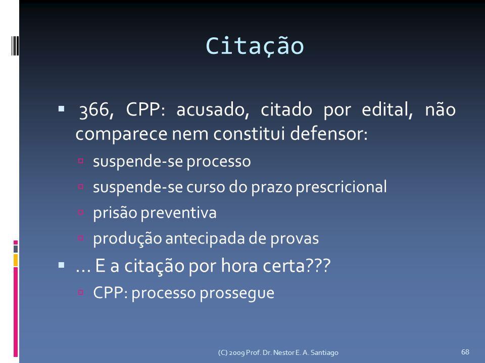 Citação 366, CPP: acusado, citado por edital, não comparece nem constitui defensor: suspende-se processo suspende-se curso do prazo prescricional pris