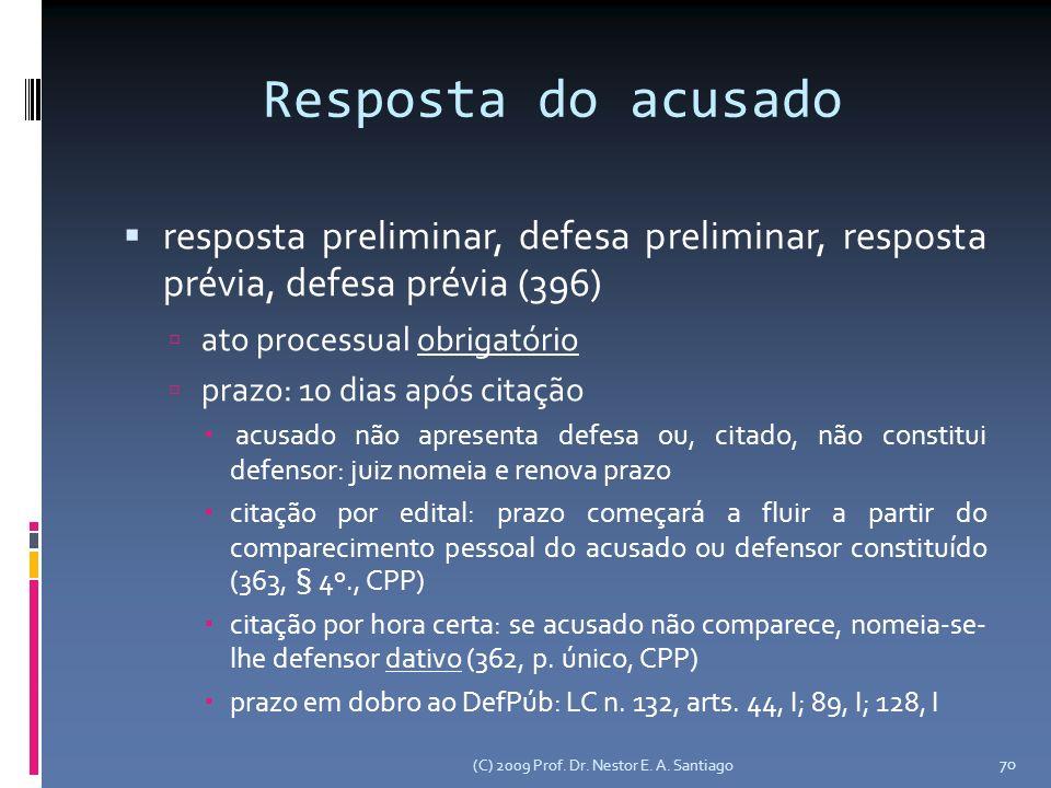 Resposta do acusado resposta preliminar, defesa preliminar, resposta prévia, defesa prévia (396) ato processual obrigatório prazo: 10 dias após citaçã