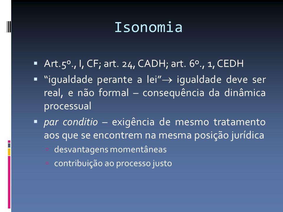 Isonomia Art.5º., I, CF; art. 24, CADH; art. 6º., 1, CEDH igualdade perante a lei igualdade deve ser real, e não formal – consequência da dinâmica pro