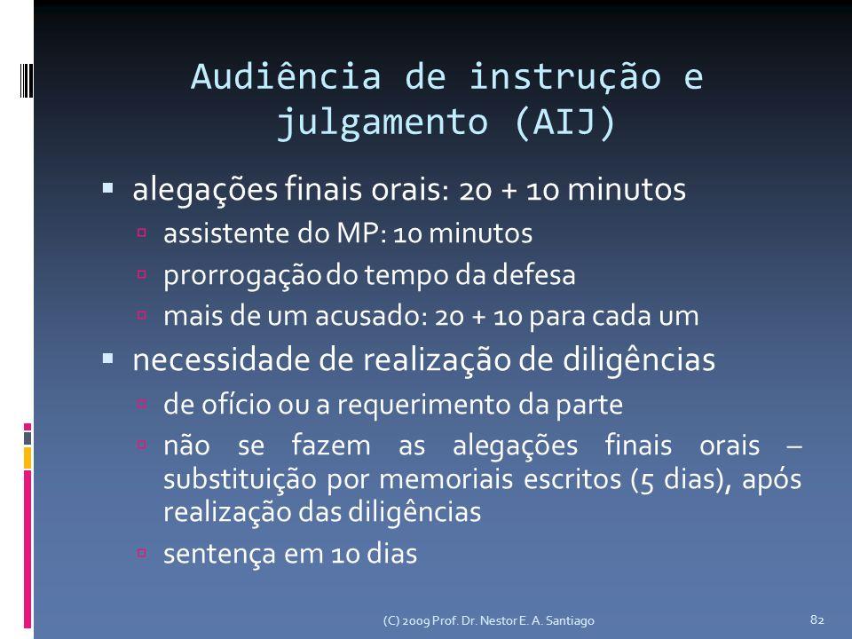 Audiência de instrução e julgamento (AIJ) alegações finais orais: 20 + 10 minutos assistente do MP: 10 minutos prorrogação do tempo da defesa mais de